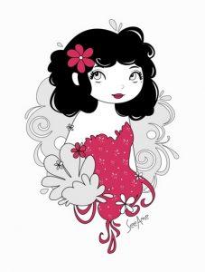 Illustration d'une fille avec une fleur dans les cheveux